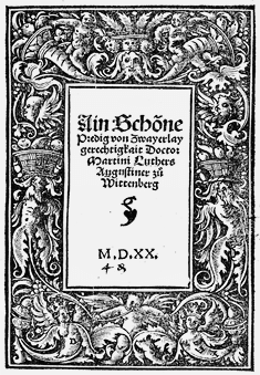 Woodcut of Martin Luther sermon