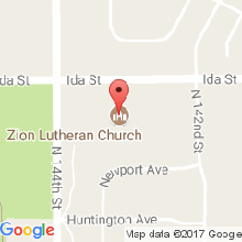 Map to Zion Lutheran Church in Omaha