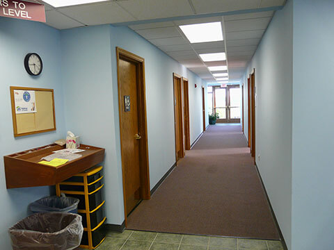 Hallway view with classrooms